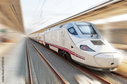 Modern Hi-Speed  Passenger Train. Motion effect. - 71549034
