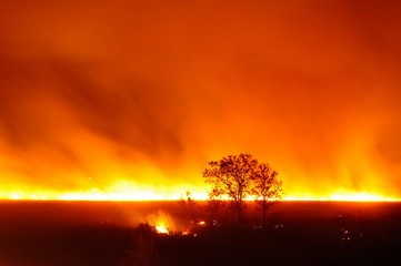 A large fire in a field