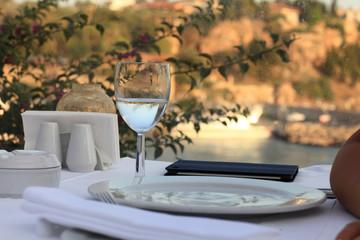 Outdoor restaurant at sunset