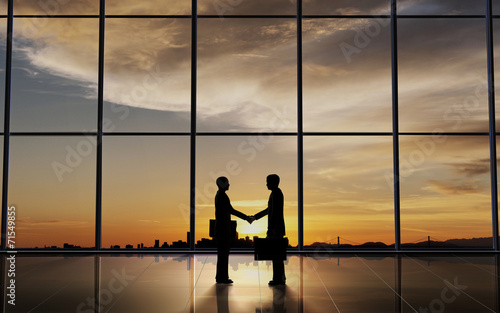 Two Business shake hand silhouettes - 71549855
