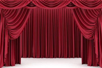 Open red theater curtain, background