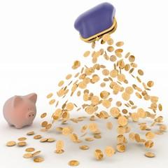 Piggy Bank and Dollar, Finance concept.