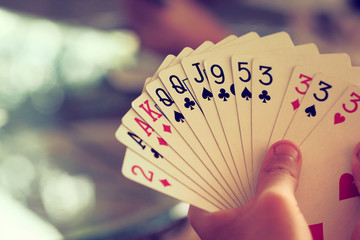hand with cards