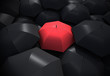 Red umbrella standing out from background of black umbrellas - 71550266
