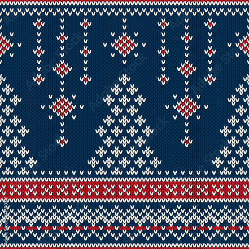 Cotton fabric Winter Holiday Seamless Knitting Pattern with a Christmas Tree