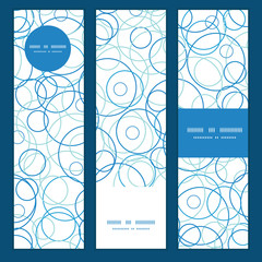 Vector abstract blue circles vertical banners set pattern