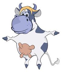 Blue cow. Cartoon