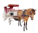 horse fairy tale carriage cabin isolated white background use fo - 71551021