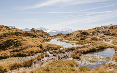 Bettmeralp, Bergdorf, Walliser Berge, Alpen, Herbst, Schweiz