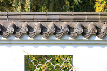 Roof tiles on white wall in in Chinese style