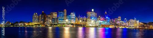 Leinwandbild Motiv Panorama Night life Sydney city