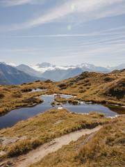 Bettmeralp, Dorf, Bergsee, Alpen, Wallis, Herbst, Schweiz
