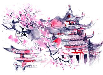 Fototapeta rysunek Japonia