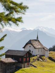 Bettmeralp, Dorf, Bergdorf, Kapelle, Walliser Berge, Schweiz