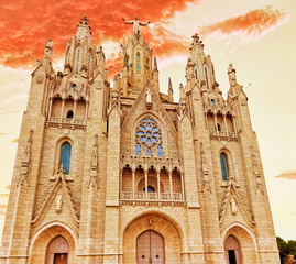 Temple on top of Mount Tibidabo, the Temple of the Sacred Heart.