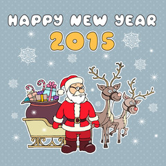 Vector illustration with Santa Claus and reindeer