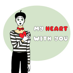 Vector illustration with sad mime and heart