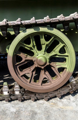 caterpillar rollers of tank close up