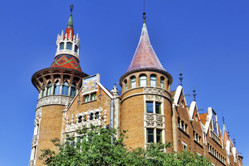 Сasa Serra (Building with spires) in centre of  Barcelona, Cata