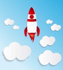 Rocket fly to sky with paper effect