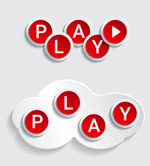 Play icons text paper effect
