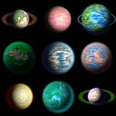 Set of planet generated textures