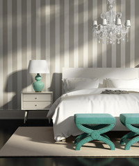 Contemporary elegant luxury grey bedroom with striped wallpaper