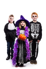 One little girl and two boys dressed the Halloween costumes