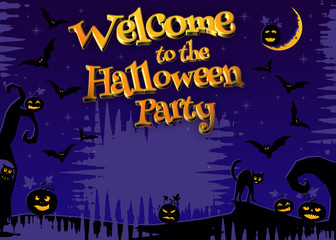 Welcome to the Halloween Party poster 3D lettering