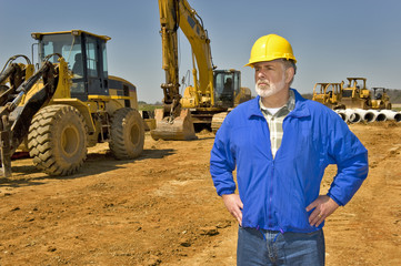 Highway Construction Worker and Equipment