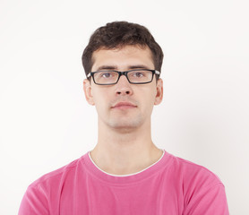 Young Man Portrait With Glasses.