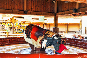 Ride the bull in park amusement.