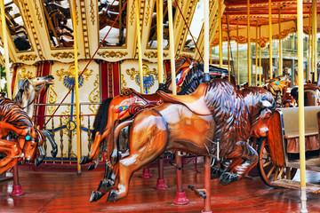 Carousel. Horses on a carnival.