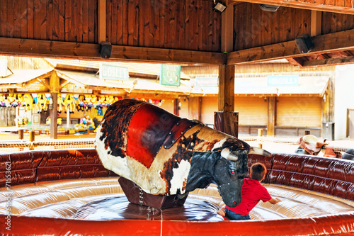 Ride the bull in park amusement. - 71553621