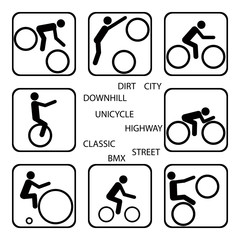 8 simple icons of a kind of the bicycle directions