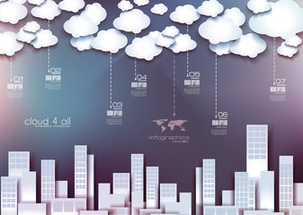 Moder infographics with clouds and city flat style background