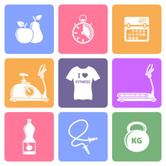 Fitness icons, flat design vector