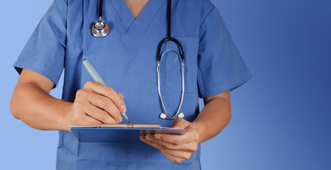 success smart medical doctor working with blue background