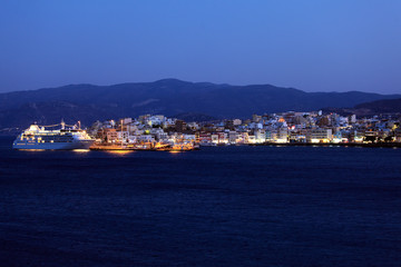 Agios Nikolaos City and Cruse Ship at Night, Crete, Greece