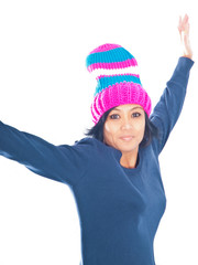 woman wearing winter cap
