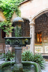 Fountain in Gothic Quarter in the heart of Barcelona.Catalonia.S