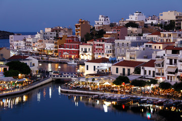 Agios Nikolaos City at Night, Crete, Greece