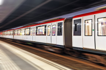 Moving train, motion blurred, Barcelona  Underground.Catalunia.