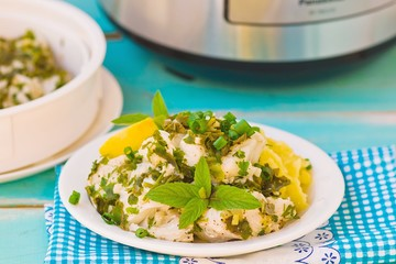 cod fillet with greens