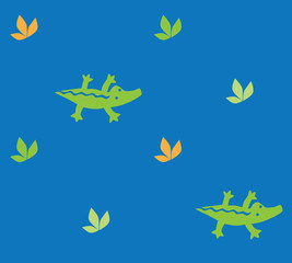 Seamless pattern with funny crocodiles