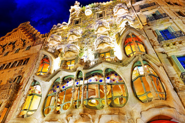 BARCELONA, SPAIN - SEPT  04, 2014: Night outdoor view  Gaudi's