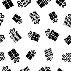 Seamless vector Gift pattern, black gift boxes on white