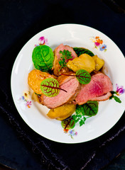 duck breast with pears