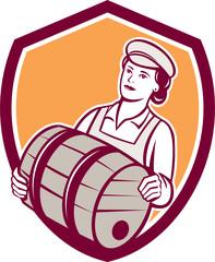 Female Bartender Carrying Keg Shield Retro