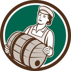 Female Bartender Carrying Keg Circle Retro